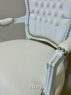 French Louis Style Shabby Chic Chair White Leatherette Faux Leather White Frame