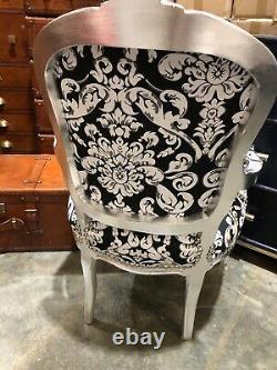 French Louis Style Shabby Chic Chair White and Black Floral with Silver Frame