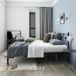 French Metal Bed Double Size Frame 4ft6 + Mattress Spring Memory Foam 2 Colours