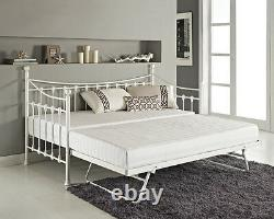 French Metal Day Bed Frame Single Black White Pullout Trundle Bedroom Furniture