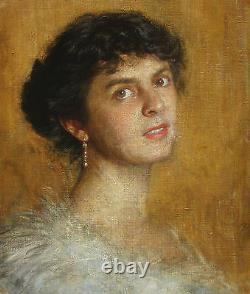 French Portrait Young Woman Lady White Dress Painting France Oil On Canvas Art