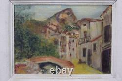 French Post impressionnist Style Village Oil Painting on Panel with White Frame