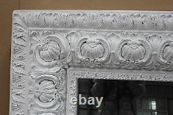 French Shabby Chic Style Extra Large Distressed White Patterned Frame Mirror