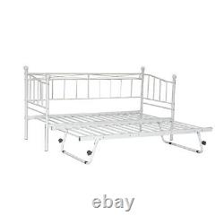 French Single Metal Day Bed Frame Sofabed + Pull Out Trundle & Mattress