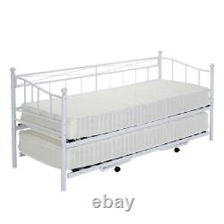 French Single Metal Day Bed Frame Sofabed + Pull Out Trundle & Sprund Mattress