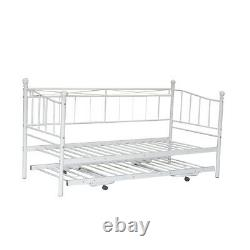 French Single Metal Day Bed Frame Sofabed + Pull Out Trundle & Sprung Mattress