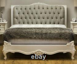 French Style Beaulieu Upholstered Double Bed Frame in Antique White with Lindow