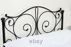 French Style Metal Bed Frame Crystal Single Double King White Grey Black Bedroom
