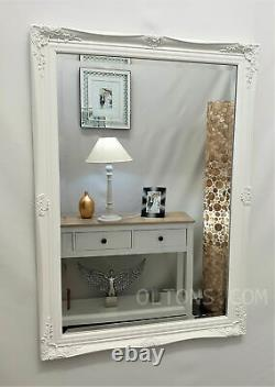 French Style Ornate Vintage Antique Design Bevelled Wall Mirror 60x90cm White
