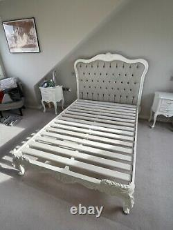 French Style White Frame With Grey Fabric Board Double Bed