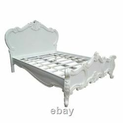 French Style White Hand Carved Solid Mahogany/Rose Cherub 4FT6 Double Bed Frame