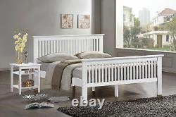 French White Bed Frame Oak Double Bedstead King Size White Shaker Style Bed