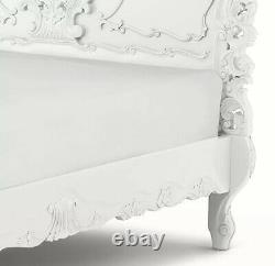 French Wooden Rococo Double Bed Frame White Gloss