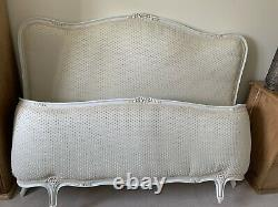 French style Solid Wood & Custom Silk Upholstered double size Bed-frame