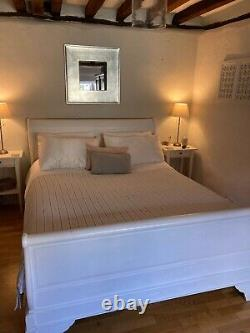Gorgeous King Size Solid Wood French Style Sleigh Bed Frame Shabby Chic White