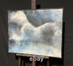 Huge French 20th Century Abstract Signed Painting Blue Grey & Whites