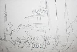 JEAN PAGES-French/NY Illustrator-Original Signed Ink Drawing-String Orchestra