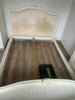 King size wooden bed frame with Side table. French Louis XVI queen style. Used