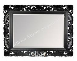 LG Black Ornate Decorative Stunning Mirror Choice of Colour Hand Carved