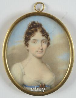 Lady in white gown, high quality French miniature, ca. 1815