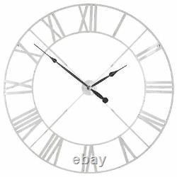 Large 110cm Distressed Off White Metal Twist Frame Wall Clock Roman Numeral