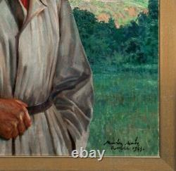 Large 1943 French Portrait Of A Lady In White Dress Marion Mroz (1892-1976)