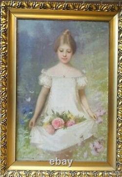 Large 19th Century French Impressionist Girl Carrying Roses In A Garden E TURBA