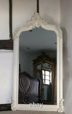 Large Antique White Ivory Cream French Arch Period Over mantle Wall Mirror 5ft