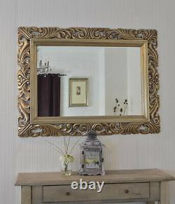 Large Bright Silver Carved Ornate Bevelled Mirror 6.5 Wide Frame Save ££s