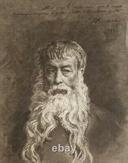 Large French Antique Black and White Framed Print Bearded Man (63x53cm)