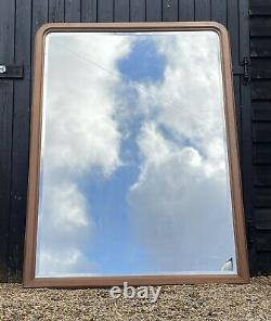 Large French Antique Leaner Mirror Mahogany Frame