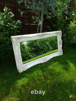 Large Ornate Carved French Frame Mirror White 6 foot x 3 foot