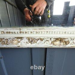 Large Vintage Antique White French Mirror With Wooden Frame Rwi5548