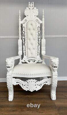 Lion King Throne Chair French White Frame with White Faux Leather