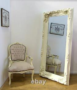 Louis Large Ornate Carved French Frame Wall Leaner Mirror Cream 35 X 69