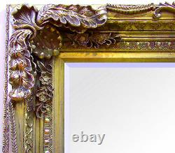 Louis Large Ornate Carved French Frame Wall Leaner Mirror Gold 35 x 69