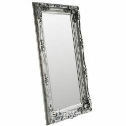 Louis Large Ornate Carved French Frame Wall Leaner Mirror Silver 35 x 69