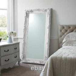 Louis Large Ornate Carved French Frame Wall Leaner Mirror White 35 x 69