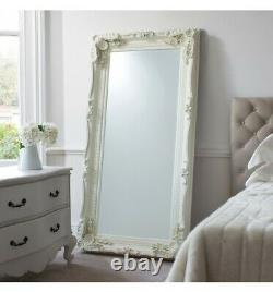Louis Large Ornate Carved French Frame Wall Leaner Mirror White 89.5 x 175.5cm