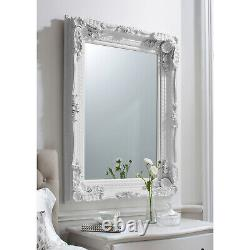 Louis Shabby Chic Vintage Ornate Large French Wall Mirror WHITE 118cm x 87cm