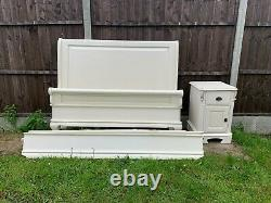 Lovely French Louis Style Ivory Sleigh Double Size Bed Frame & Bedside Cabinet
