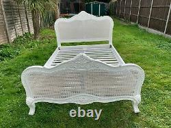 Marvellous Provence French Style Rattan Antique White Double Bed Frame