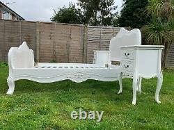 Marvellous Provence French Style Rattan Antique White Double Bed Frame & Tables