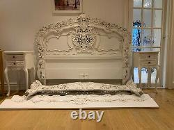 Marvellous Rococo Handcrafted French Antique 5FT King Bed Frame & Bedside Tables
