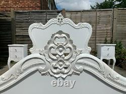 Masterpiece Estelle French Antique White Double Bed Frame & Bedside Cabinets