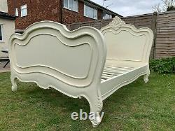 Masterpiece La Rochelle French Antique Ivory Style Double Bed Frame