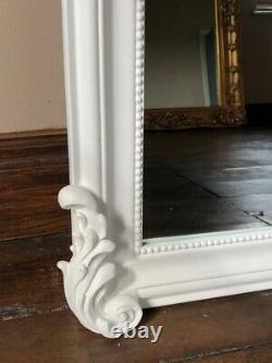 Matt White French Shabby Chic Swept Ornate Period Over Mantle Arch Wall Mirror