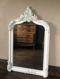 Matt White French Statement Shabby Chic Over Mantle Scroll Arch Wall Mirror