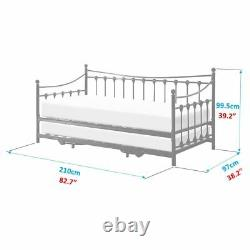 Memphis 3ft Single French Style Design Bed Frame Pullout Trundle Guest Day Bed