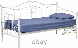 Morgan French Style white Metal Day Bed 3FT Single Guest Bed Frame Bedroom